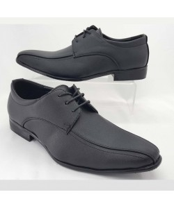 NEW SEVEN Men Round Toe Low Top Leather Dress Shoes Black
