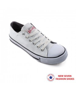 NEW SEVEN Unisex Round Toe Low Top Canvas Comfort School Shoes White WB168