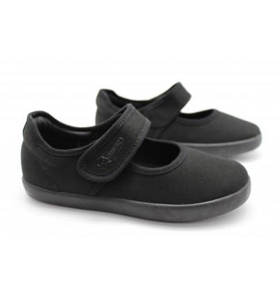 NEWSTAR Children Round Toe Slip-on Canvas Comfort School Shoes Black