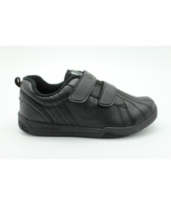 NEWSTAR Children Round Toe Low Top Leather Comfort School Shoes Black