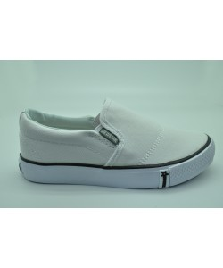 NEWSTAR Unisex Round Toe Slip-on Canvas Comfort School Shoes White MD15119-1W