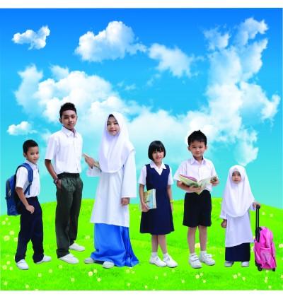 BINBI Primary School Uniform Girl White Baju Kurung (Koshibo)