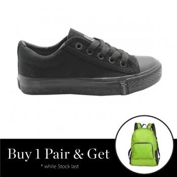 NEWSTAR Unisex Round Toe Low Top Canvas Comfort School Shoes Black