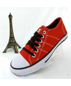 NEW SEVEN Children Round Toe Low Top Canvas Comfort Sneaker Shoes Red
