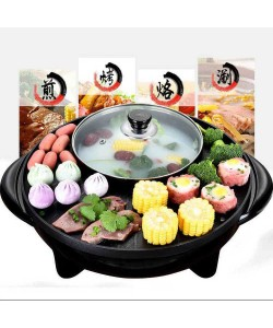 Multi Function 2in1 BBQ Grill Teppanyaki Steamboat Shabu Shabu Hot Pot Black (Ready Stock)