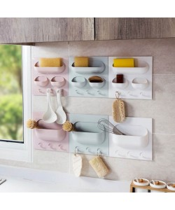 Multi Function Wall Sticking Kitchen Bathroom Storage Rack (Ready Stock)