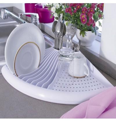 Dish Drain Kitchen Storage Racks Dishware White (Ready Stock)