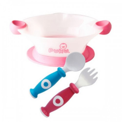 PUKU Baby Bowl, Spoon & Fork Set Pink