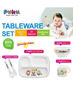 PUKU PP Tableware Set (Spoon/Fork/Tray/Bowl/Cup)