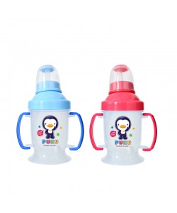 PUKU Baby Nipple Straw Training Cup 180CC Blue/Pink