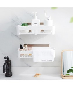 Bathroom Toiletries Storage Holder Seamless Stickers Rack Shelf (Ready Stock)