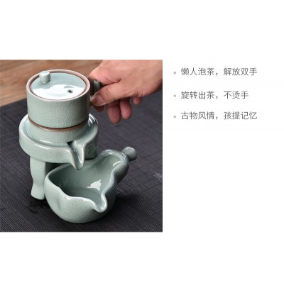 Celadon Stone Grinding Automatic Tea Set (Ready Stock)