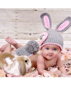 Newborn Baby Photography Grey Rabbit Clothes (Ready Stock)