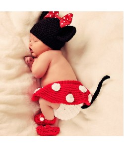 Newborn Baby Minnie Four-Piece Photography Props (Ready Stock)