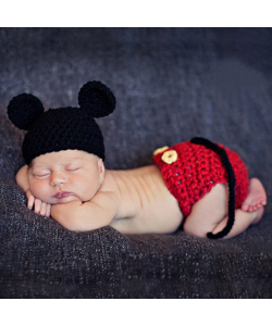 Newborn Baby Mickey Three-Piece Photography Props (Ready Stock)