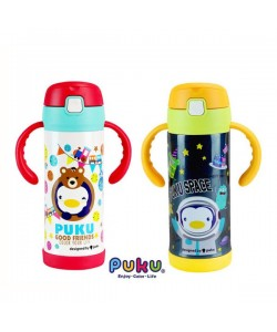 PUKU Stainless Dual-Use Straw Water Bottle (350ml)