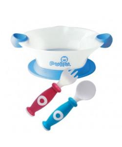 PUKU Baby Bowl, Spoon & Fork Set Blue