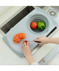 3 in 1 Multi-function Chopping Board with Folding Drain Basket