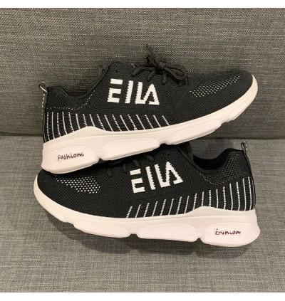 Men's Mesh Sneaker Casual Sport Shoe in Black + White CT19-2B READY STOCK