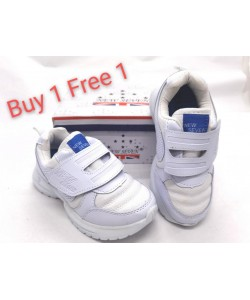 (BUY 1 FREE 1)NEW SEVEN Children Round Toe Comfort School Shoes White