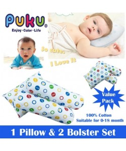 PUKU Bedding Set (2 Bolster/1 Pillow) 3 Pcs